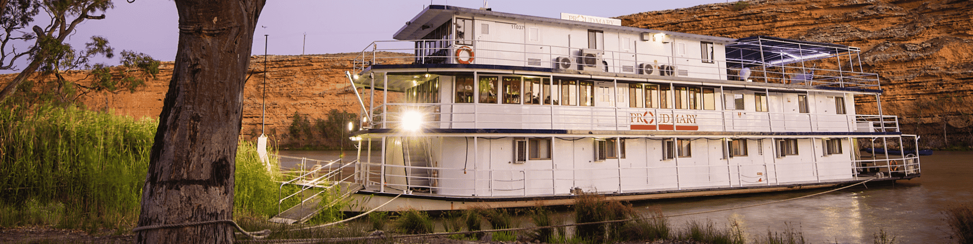 Proud Mary docked on the riverbank