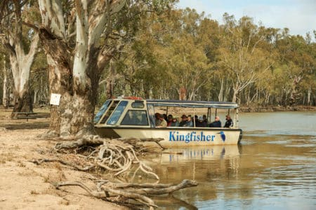 Small tour boat for sightseeing along the Murray River