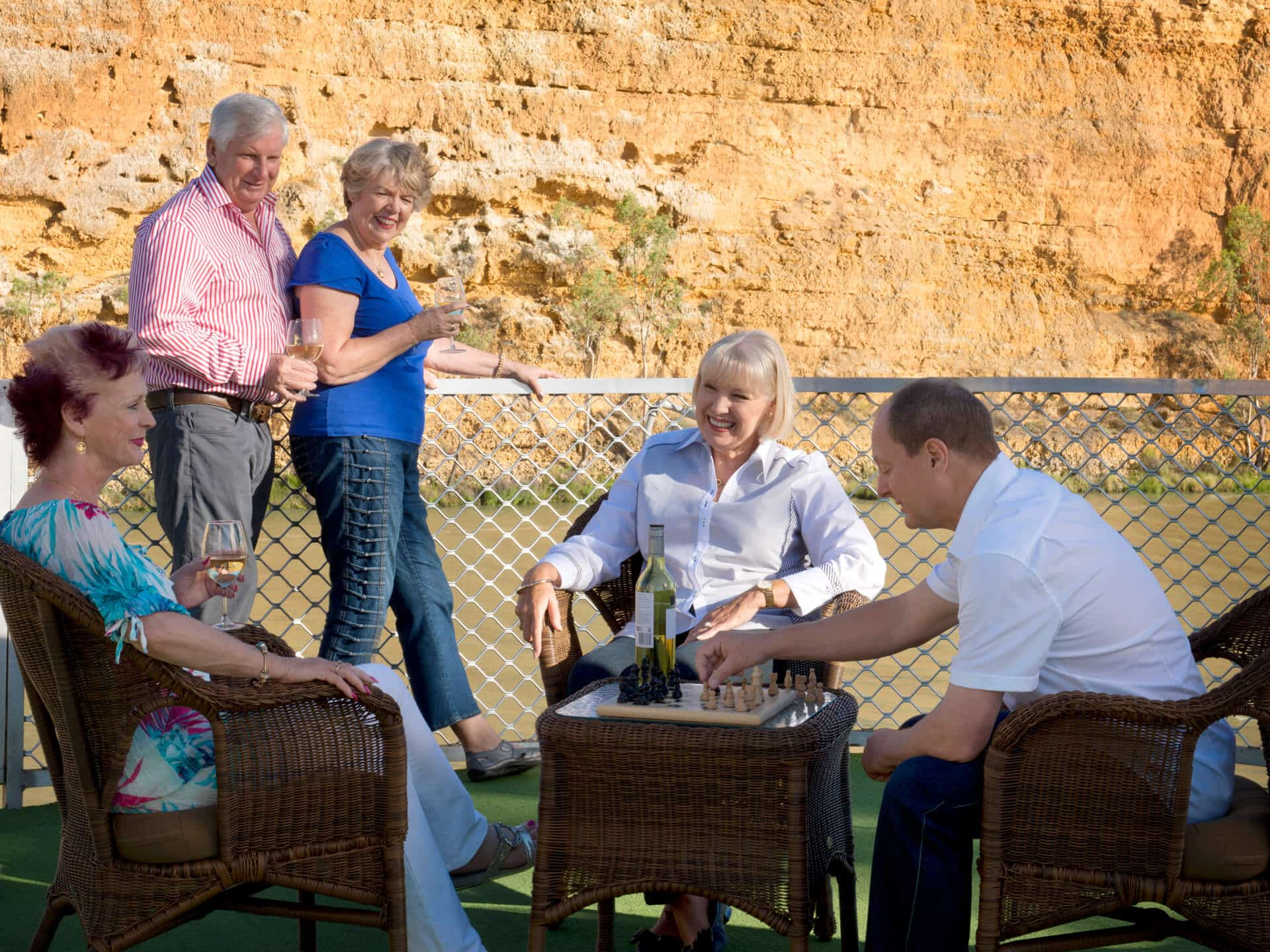 Socialising on the deck of the Murray Princess