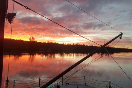 View of the sunset over the Murray River