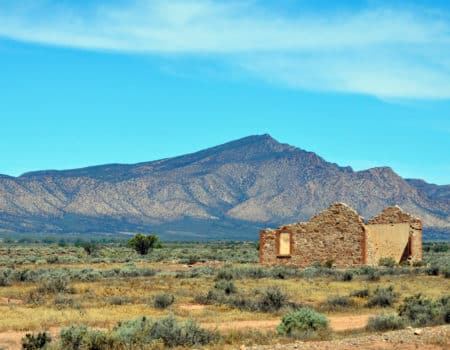 Remains of a collapsed cottage with Flinders Ranges in background