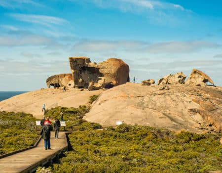 Tour groups at Remarkable Rocks, Kangaroo Island