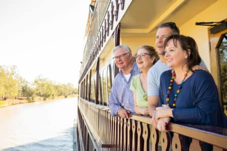 Friends take in views on Murray Princess balcony