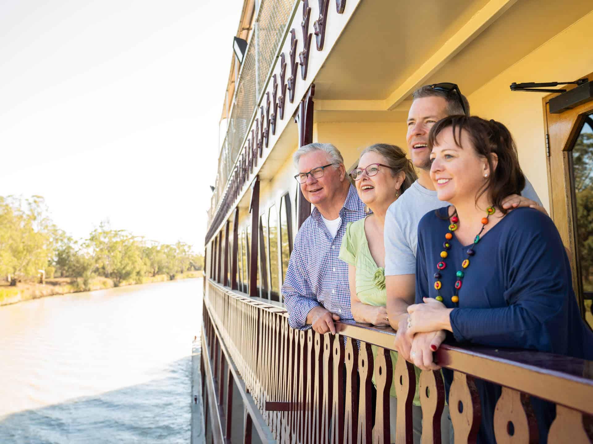 Friends take in views on Murray Princess balcony