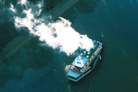 Aerial view of paddlesteamer Emmylou