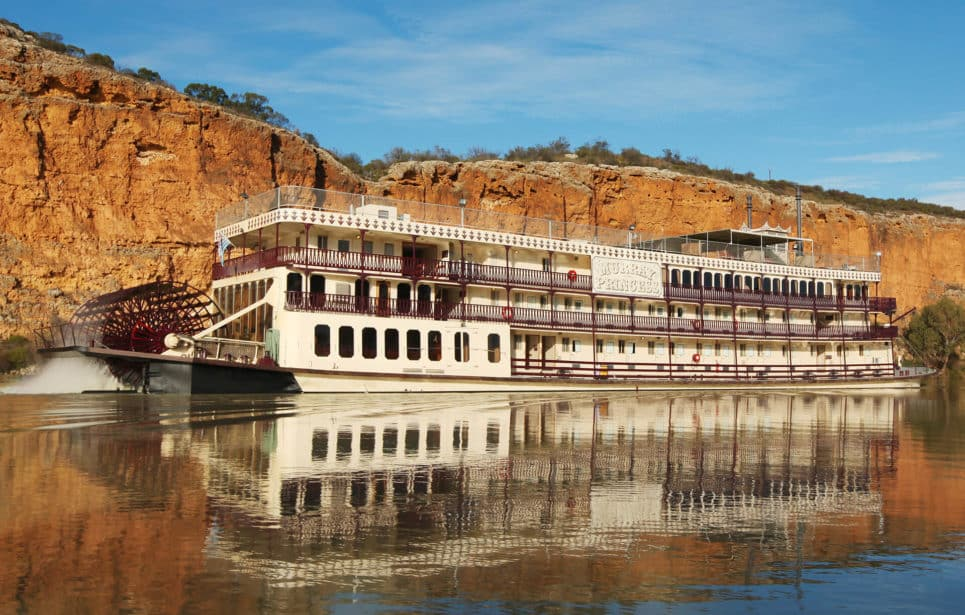Murray Princess on the river with cliffs behind